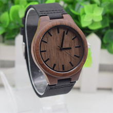 Top Brand Black Walnut Wooden Wristwatch For Mens And Womens With Cowhide Genuine   Leather Straps  For Christmas Gifts  цена