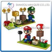 Mini Qute PZX movie Cartoon anime game super mario kids block plastic building block boys action figures educational gift toy