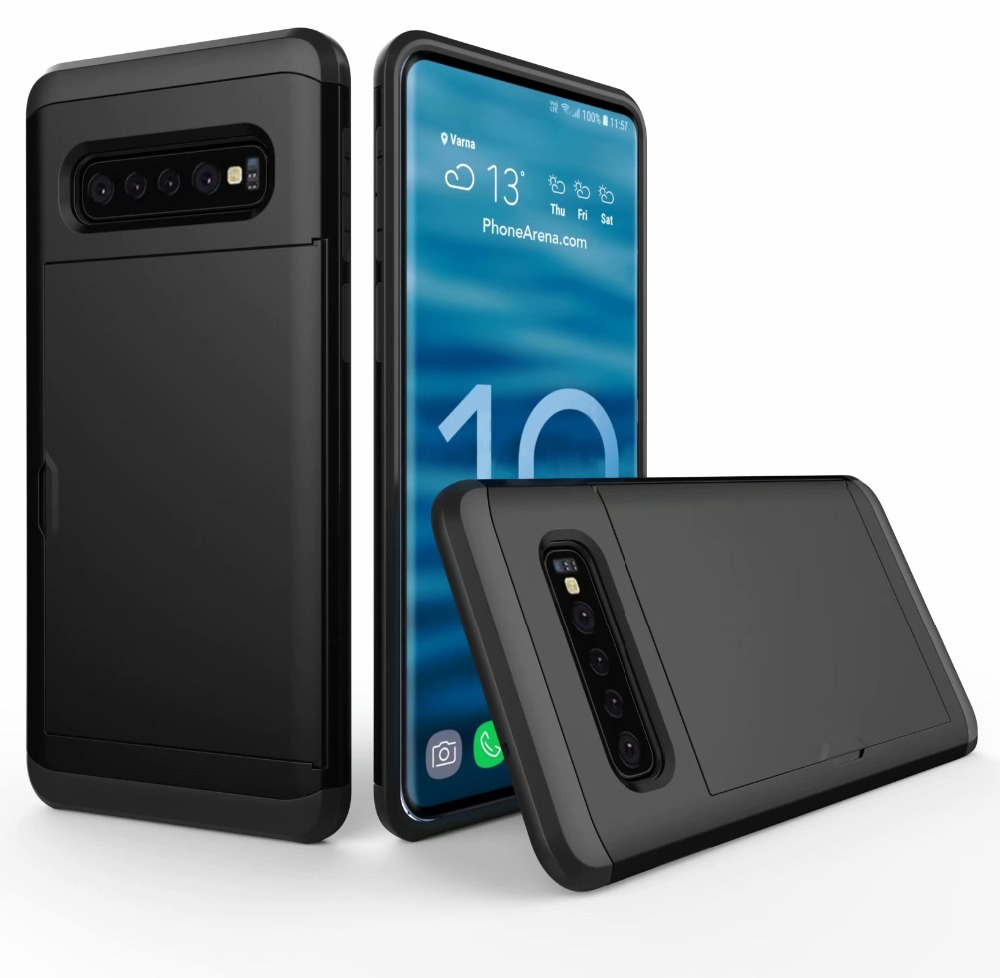 For Samsung Galaxy S10E S9 S8 Plus Note 9 8 5 4 Luxury Hybrid Armor Tough Slide Wallet Card Storage Case For S6 S7 Edge Cover visa