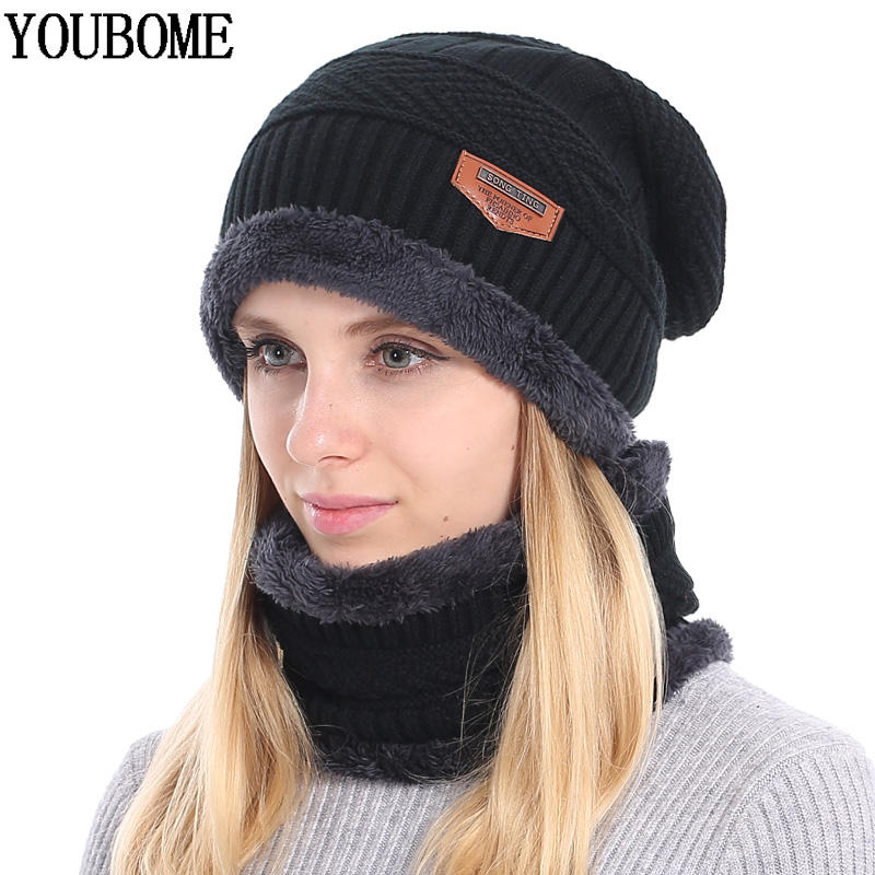YOUBOME Winter   Skullies     Beanies   Women Knitted Hat Scarf Winter Hats For Women Men Baggy Ring Warm Thicken Fashion Cap Hats 2018