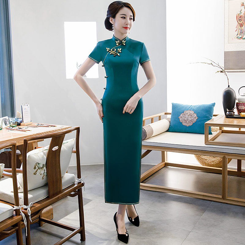 8d9742250 S-4XL Vestido largo Cheongsam estilo chino Vintage 2019 moda mujer rayón  Qipao ajustado vestidos de ...