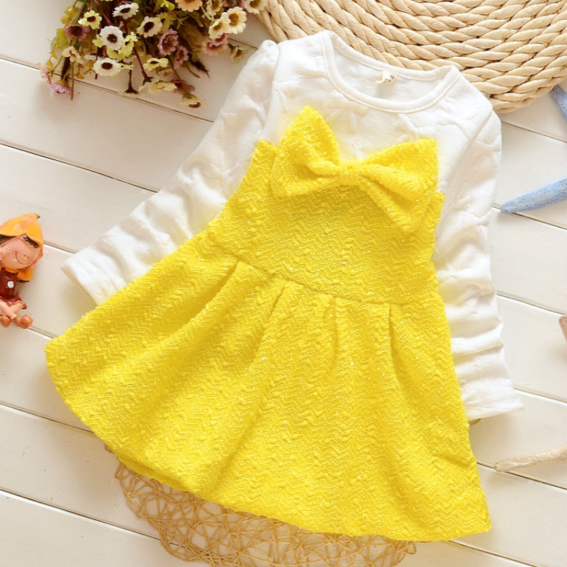 2016 Real Autumn Winter Childrens Clothing Cotton Bowknot Girl Long Sleeved Dress Baby Princess Costumes Girls Christmas Party