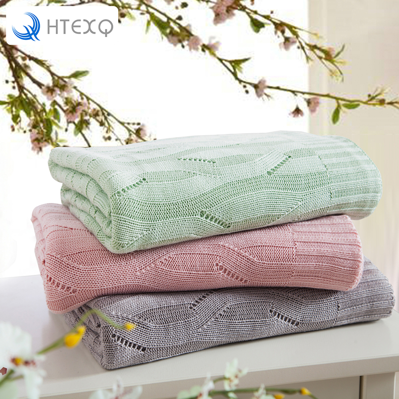 HTEXQ 100 Percent Micro Fiber Bamboo Blanket Knitted Embossed Bed Sheet Set Full Size Solid Green Pink Grey Blankets