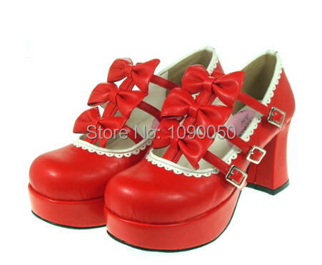 ФОТО plus size:34-44 Popular lolita bow princess brand dress shoes high heeled sweet red party shoes fashion black Cosplay pumps