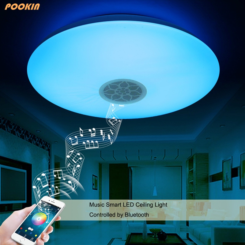 Led Deckenleuchte Moderne RGB Wohnzimmer Bluetooth Handy Musik Versprechen Dimmen LED 24 Watt Party Lampe
