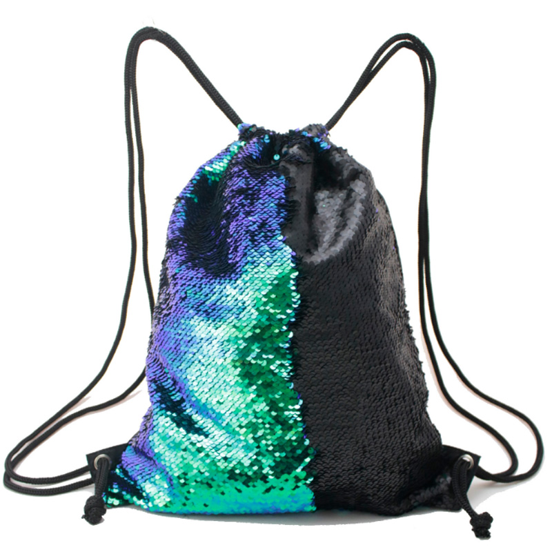Shifting Color Sequins Sports Bag Drawstring Harness Pocket Outdoor Backpack