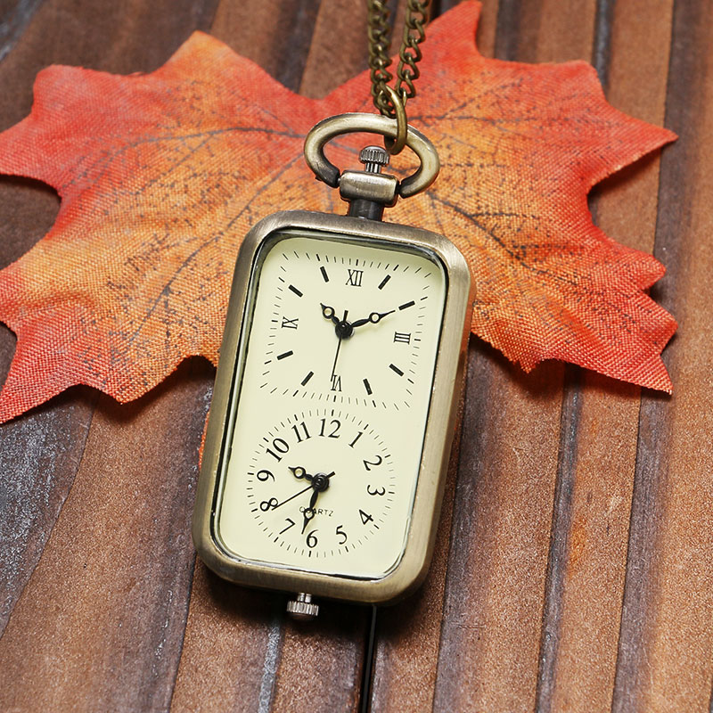 Retro Dual Time Zone Rectangle Quartz Pocket Watch Bronze Pendant Necklace Chain Gift For Men Women Relogio De Bolso