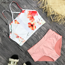Women Swimsuit High Waist Push Up Print Floral TeLaura