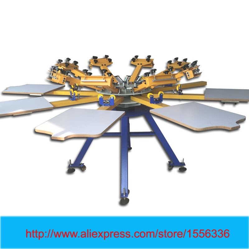 Manual Screen Printing Machine Price 8 Color 8 Station Rotary Silk Screen Printer With Flash Dryer
