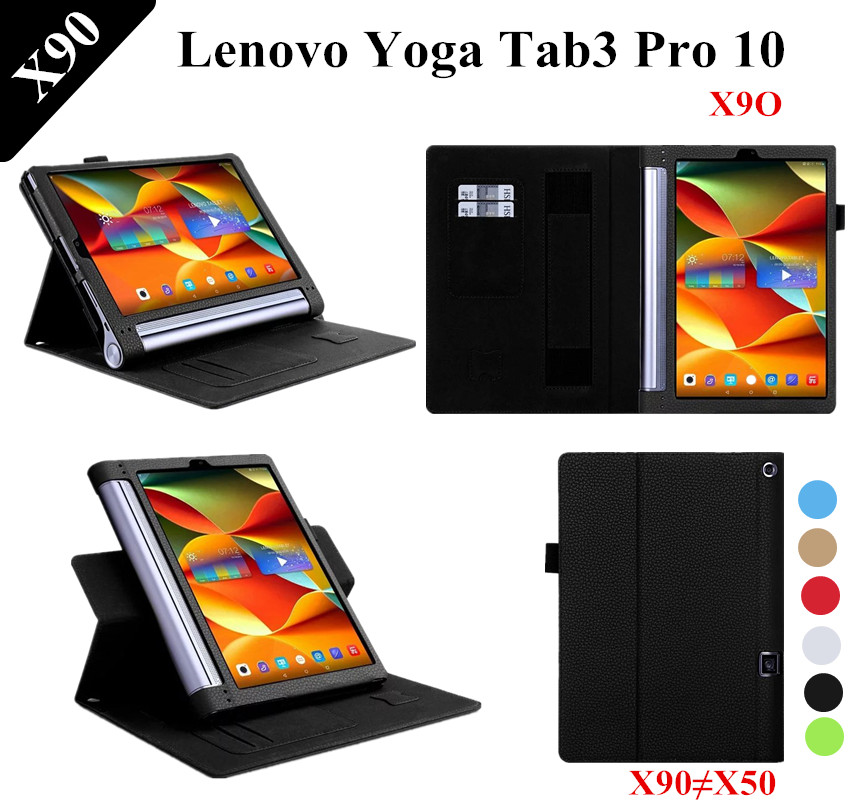 Lichee Pattern YOGA Tab 3 plus Stand PU Leather Case For Lenovo YOGA Tab 3 Pro 10 X90 X90F Leather Cover Case +protectors+gift