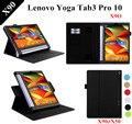 Patrón de lichee yoga tab 3 plus soporte pu funda de piel para lenovo yoga tab 3 pro 10x90 caso de la cubierta de cuero x90f + protectores + regalo
