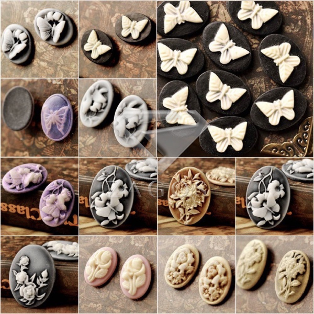 4/8/10/12Pcs Resin B Grade Vintage Style Oval Butterfly Flower Animals Flat Back Cameo Cabochon For Jewelry Making Wholesale