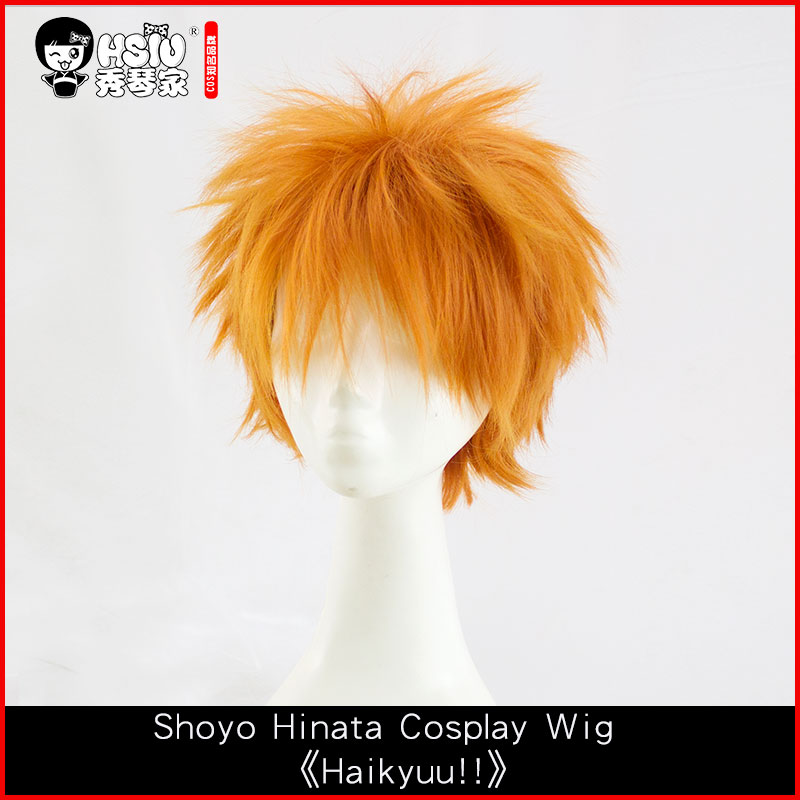 Volleyball Shoyo Hinata Syouyou Short Golden Orange Curl Hair Heat Resistant Cosplay Costume Wig Free Wig Cap Haikyuu!