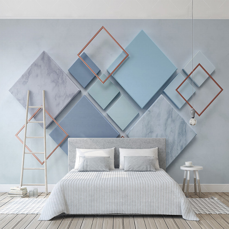Wallpapers Custom Photo 3d Wallpaper Simple Geometric Diamond Marble Mosaic Living Room Sofa Tv Background Mural Non-woven Papel De Parede Factories And Mines