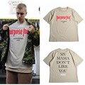 Justin Bieber Propósito Tour Letter Print T-shirt Hombres Temor De Dios Casual Hip Hop Camiseta 2016 Verano Para Hombre Tee Ropa Homme EE. UU. tamaño