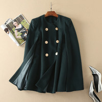 Women's double breasted fashion cloak coat wool poncho coats outerwear new arrival 2017 brand runway fashion green