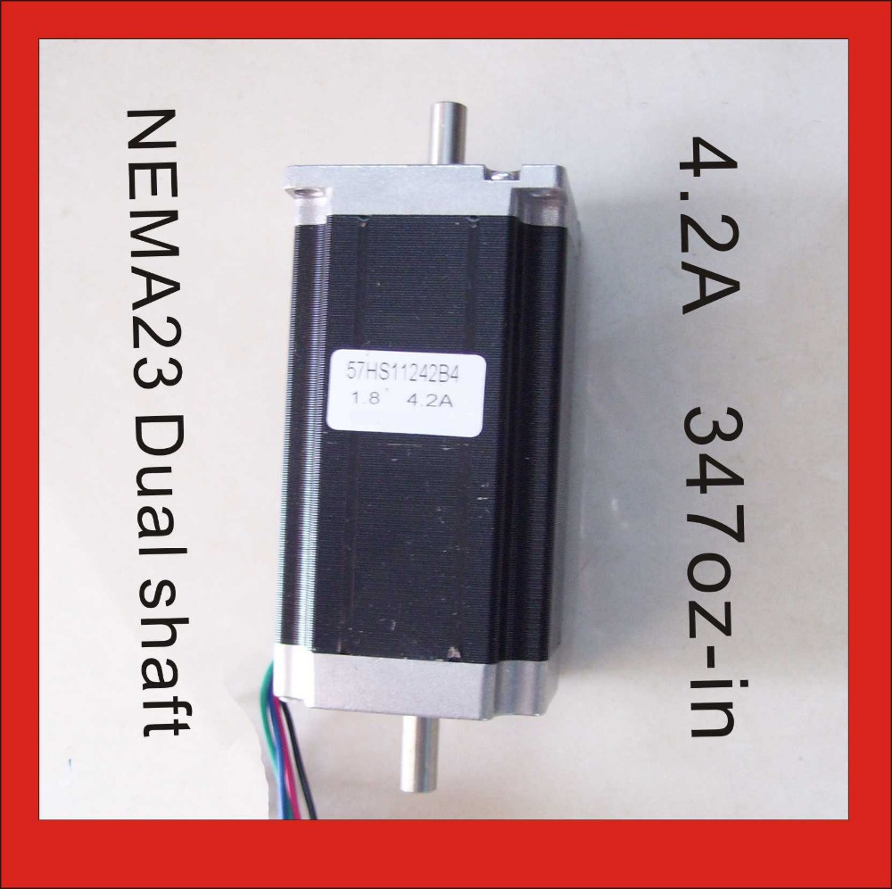 цена на NEMA 23 Dual Shaft 3N.m (417oz-in) Body Length 112mm CE ROHS NEMA23 Stepper Motor CNC Stepping Motor