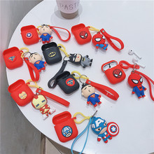 New Luxury Fashion Marvel Superman Spider-Man Wireless Earphone Case For Airpods 1/2 Cute 3D Cartoon Silicone with Pendant