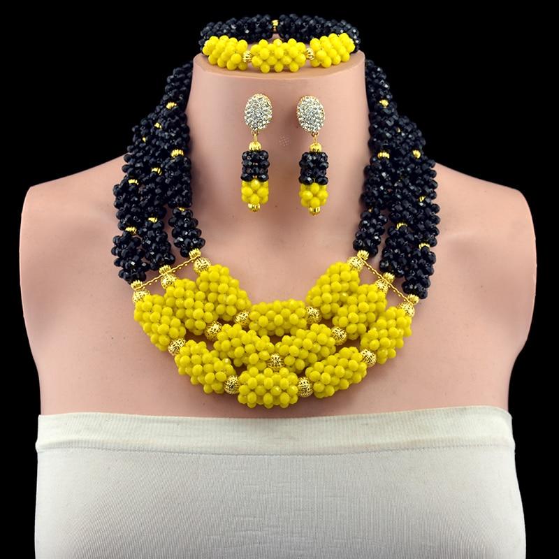 Wonderful Yellow Black Nigerian Wedding African Beads Jewelry Set Gold-color Dubai Crystal Rhinestone Necklace Set Free Shipp цена и фото