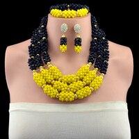 Wonderful Yellow Black Nigerian Wedding African Beads Jewelry Set Gold color Dubai Crystal Rhinestone Necklace Set Free Shipp