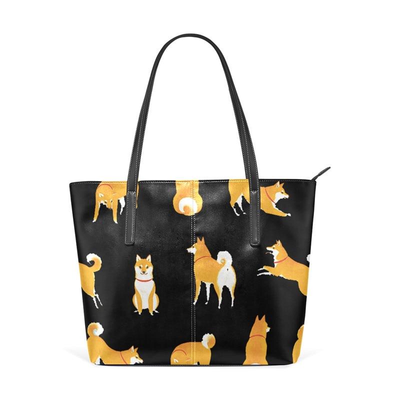 Cute Shiba Inu Girls Handbag Shoulder Bag Leather Zipper Women Laptop Tote Bag Women Handbag Dog Print SchoolBag for Lady cartoon dog plush pillow shiba inu
