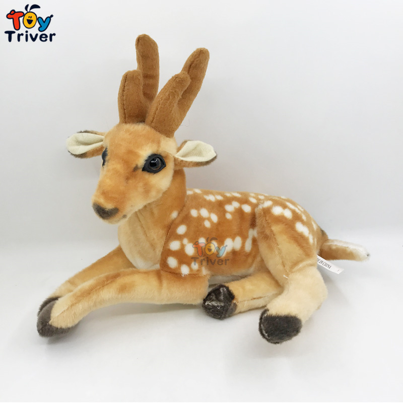 Plush Deer Stuffed Animals Doll Simulation Deers Model Baby Kids Children Birthday Gift Home Shop Decor Drop Shipping Triver simulation eagle pvc animals model furniture owl figurine birds home decoration accessories decor plastic toy gift for kids