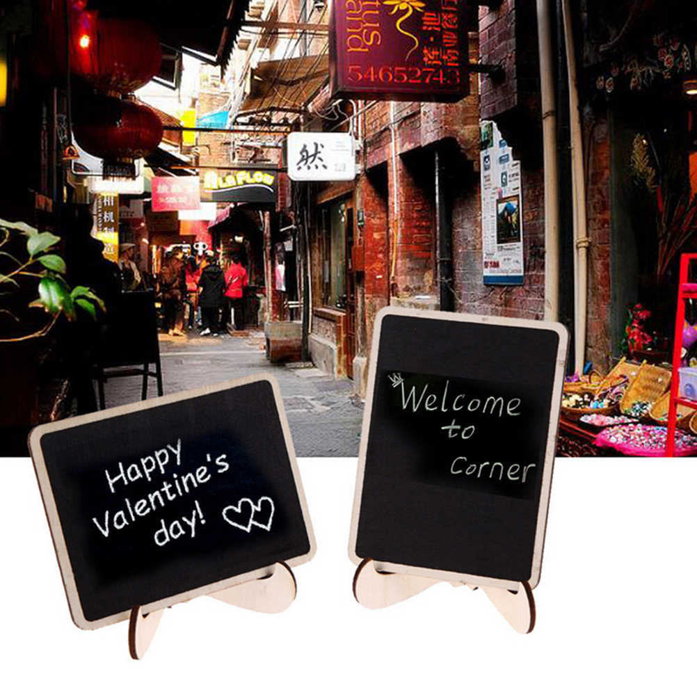 1PC Wedding Home Office Decor Supplies Chalkboard Mini Wooden Message Blackboard With Stand Small Black Notice Board10x10x6cm