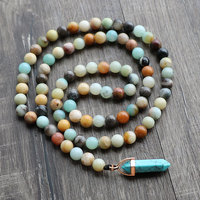 Boho Hand knitted Nature Amazonite Beads Female Necklaces Nature Stone Pendant Necklaces Pendants Best Friend Gift Jewelry