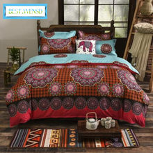 Wholesa 3pcs AB Side Boho Duvet Cover Vintage Bohemia Style 3pcs King Bedding Sets 1* Quilt cover+2 * Pillowcases jogo de cama(China)