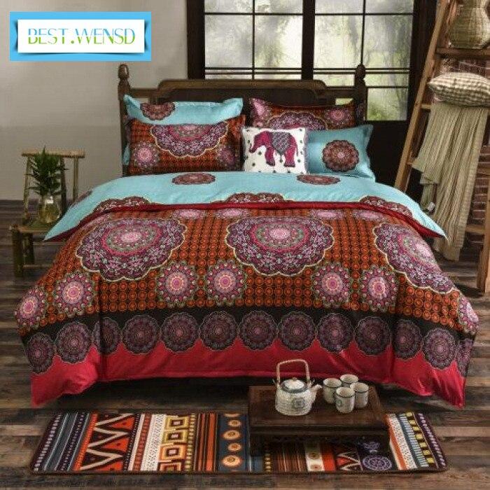 Wholesa 3pcs AB Side Boho Duvet Cover Vintage Bohemia Style 3pcs King Bedding Sets 1* Quilt Cover+2 * Pillowcases Jogo De Cama