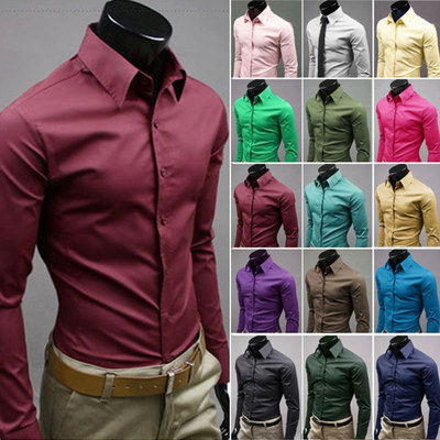 British Style Slim Fit Casual Long Sleeve Slim Fit Solid Business Shirts