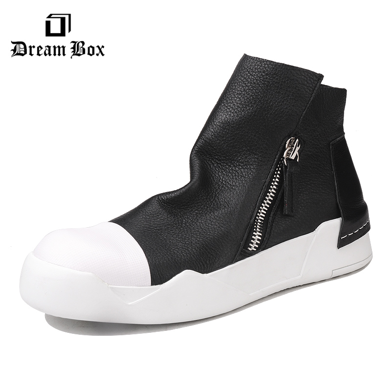 Men's height shoes in the European and American fashion sports casual cow leather bottom side zipper men high help board shoes