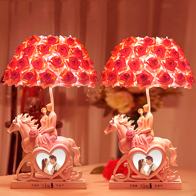 Fashion Lamp Pe Rose Flower Shade Table Lamp Lights Brief Resin A lover riding horse Desk Light Classic Decoration Table Lights лопата truper pcl pe 31174