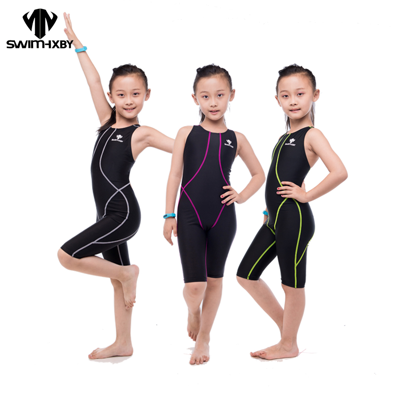 HXBY HOT Competition Racing Training One Piece Swimsuit For Girls Swimwear Kids Children Swimsuit Women Bathing suits Swimsuits yingfa children training swimwear kids swimming racing suit competition swimsuits girls professional swim solid child