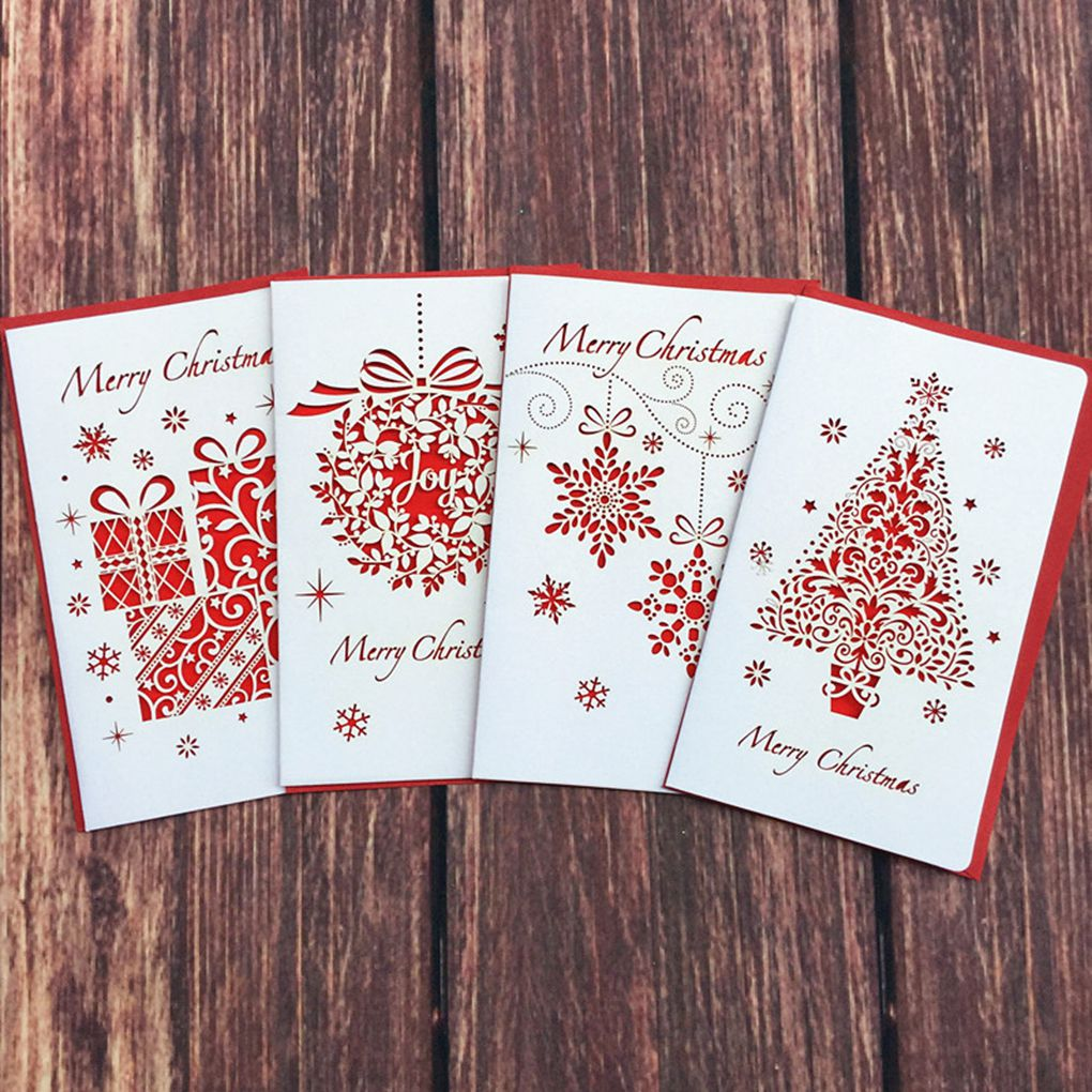 2019 New Creative Paper Cutting Merry Christmas Cards Folding Xmas Blessing Card For New Year Christmas Gift Random Pattern
