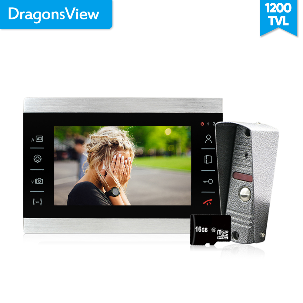 Dragonsview 7 Inch 1200TVL Metal Video Door Phone Intercoms For A Private House Motion Detection Recording 16GB SD Card Unlock