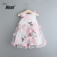 NEAT 2017 Retail New Summer Baby Girl Dress Butterfly Print Three Dimensional Flower Yarn Mesh Small