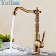 Бесплатная доставка смеситель для кухни античная латунь поворотный ванной бассейна раковина смеситель крана, Torneira YT-6045