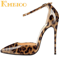 Kmeioo Women Leopard pumps Super High Heels 12CM Pointed Toe Thin Heels Ankle Strap Shoes Evening Wedding summer shoes US 5 15