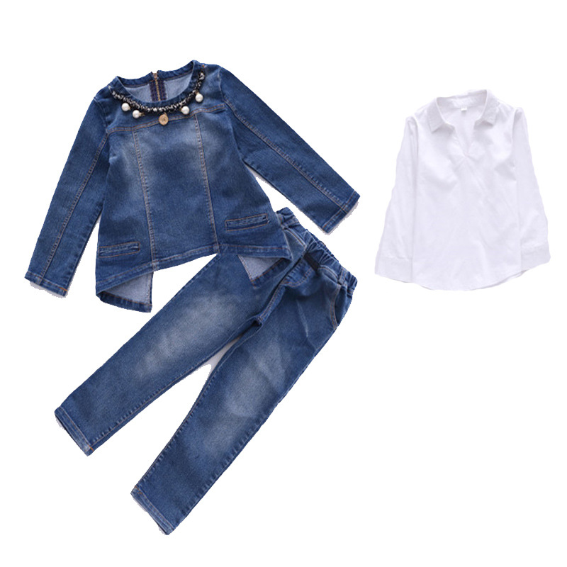 Kids Tracksuit Autumn Kids Clothes Fashion Suit 3pcs Girls Outfits Jeans Denim Clothing Children Set 3-13 Years Girls Clothes baby fashion clothing kids girls cowboy suit children girls sports denimclothes letter denim jacket t shirt pants 3pcs set 4 13