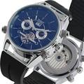 Модные механические часы для женщин и мужчин  прочный силиконовый ремешок  скелетный циферблат с календарем  механические наручные часы