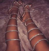 Summer Girls Shinning Rhinestone Embellished Women Gladiator Sandals Boots Female Open Toe Knee High Boots Lady High Heels 43