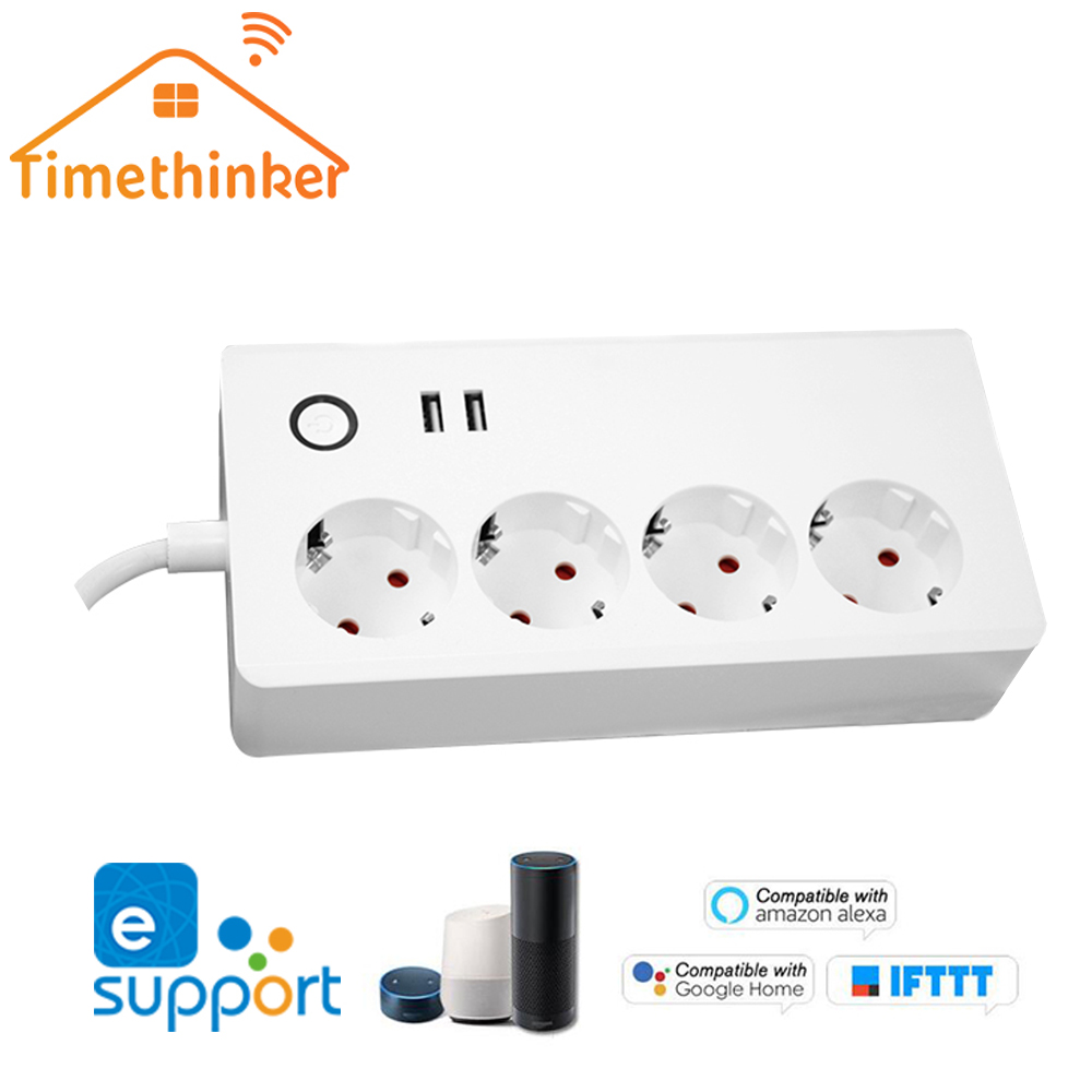Timethinker Ewelink Wifi Power Strip for Alexa Google Home EU Plug Timer Socket Smart Home Automation Remote Control 2 USB Ports