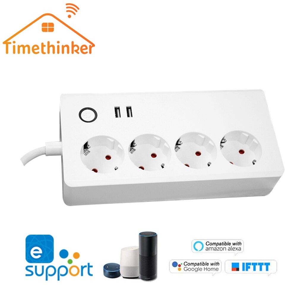 Timethinker Ewelink Wifi multiprise pour Alexa Google accueil EU prise minuterie Smart domotique télécommande 2 Ports USB
