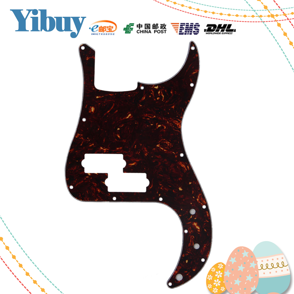 Yibuy Dark Brown Tortoise Shell 3 Ply PVC P Bass Pickguard PB Bass Scratch Plate hot 5x cool dark red flame pattern 3 ply pickguard scratch plate for p bass guitar part
