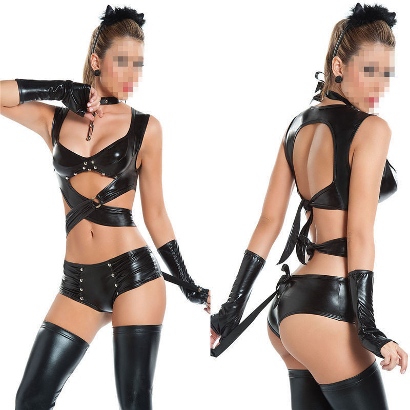 Vocole Sexy Black Vynly PVC Nightclub Bondage Catsuit Faux Leather Costume Erotic Temptation Clubwear Lingerie Dancer Women