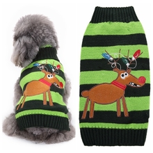 Christmas Dog Clothes Green Reindeer Striped Dog Sweater  Festival Sweaters Puppy Autumn / Winter Dogs Clothing Supplies Sweater