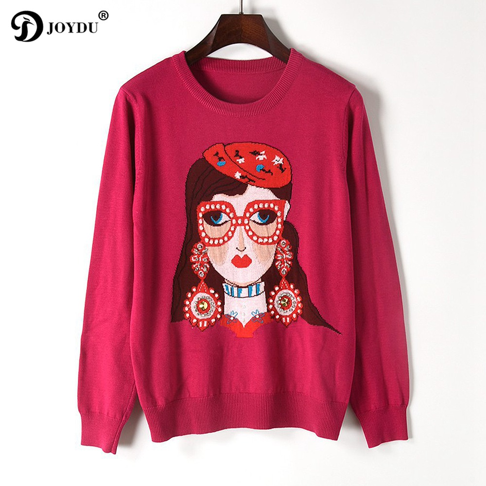 Runway Wool Sweater For Women 2017 New Designer Beading Sweet Girl Pattern Long Sleeve Europe Chic Knit Pullover Casual Jumper