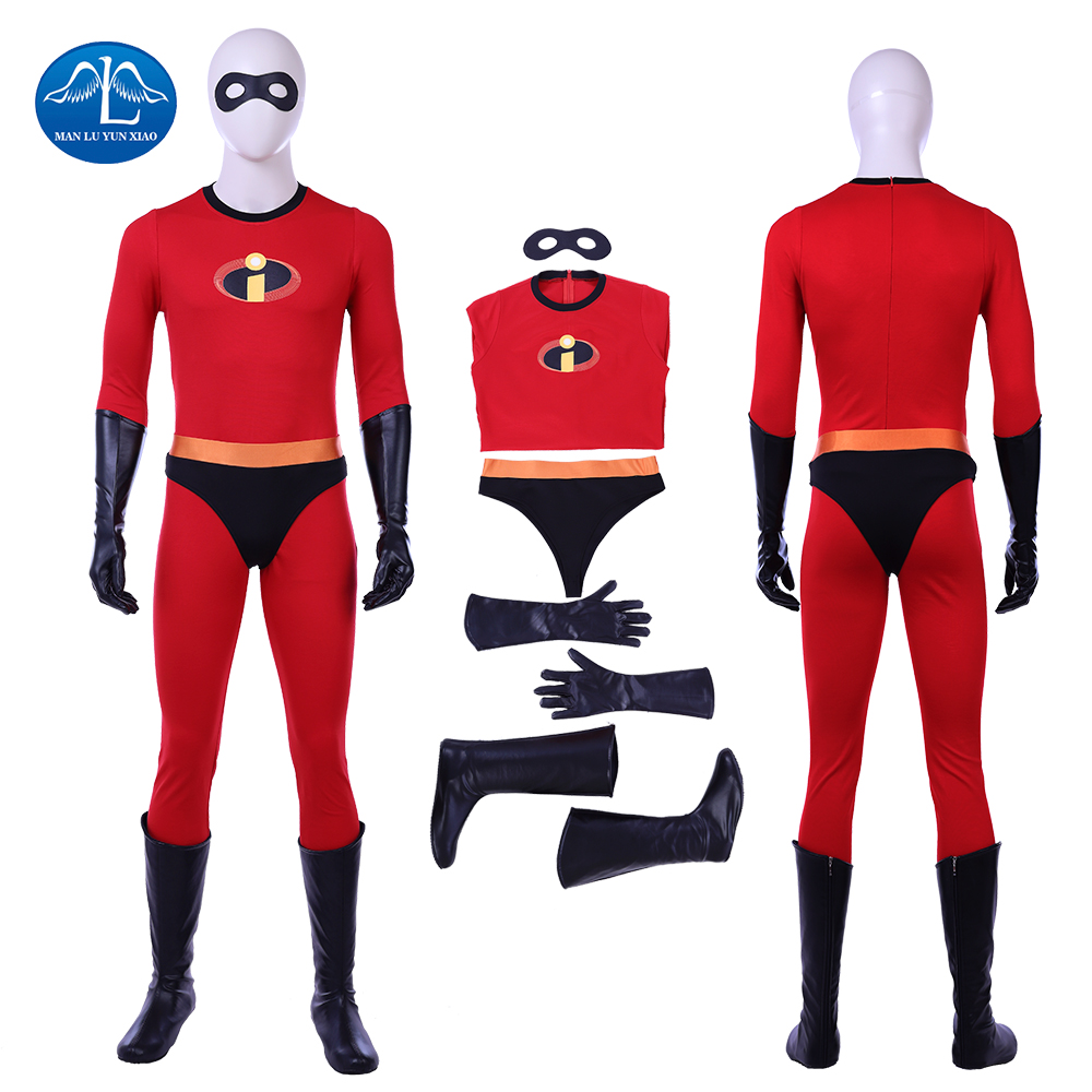 2018 New Mr.incredible Bob Parr Costume Men The Incredibles 2 Cosplay Costume Halloween Men Bob Parr Jumpsuit Custom Made