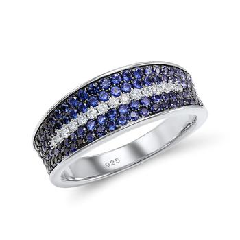 Blue Deco-Style Silver Ring